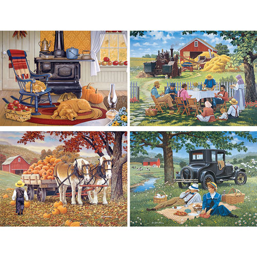 Simpler Times 4-in-1 300 Large Piece John Sloane Jigsaw Puzzle Set