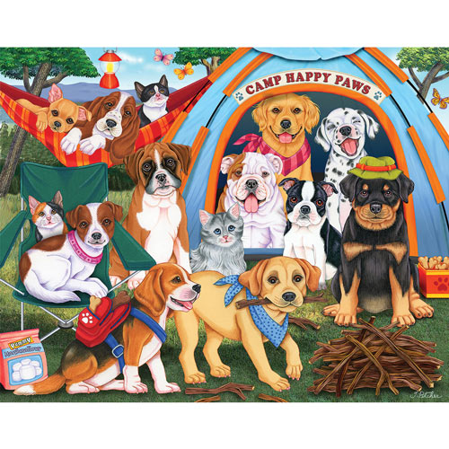 Camp Happy Paws 100 Large Piece Jigsaw Puzzle