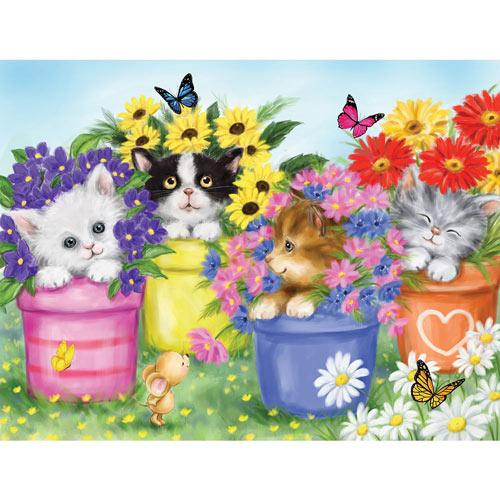 Cats In Flower Pots 200 Large Piece Jigsaw Puzzle