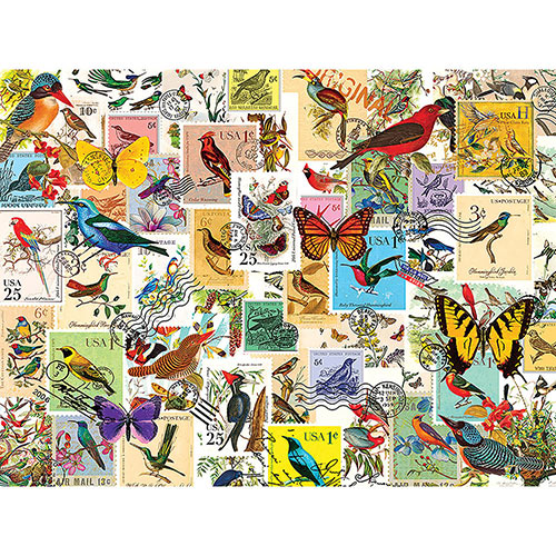 Stamp Collector Birds & Butterflies 300 Large Piece Jigsaw Puzzle