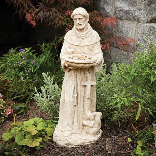 St. Francis Bird Feeder Garden Statue