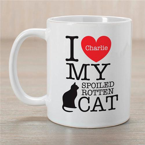 Personalized I Love My Cat Mug