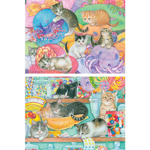 Set of 2: Hat Shop Kittens and Candy Shop Kittens 300 Large Piece Jigsaw Puzzle