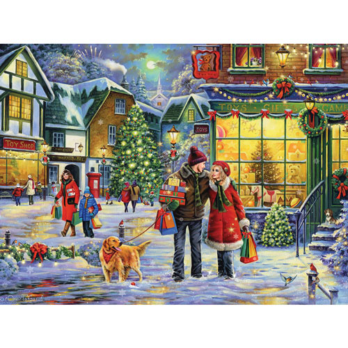 Christmas Eve In The Country Village 300 Large Piece Jigsaw Puzzle