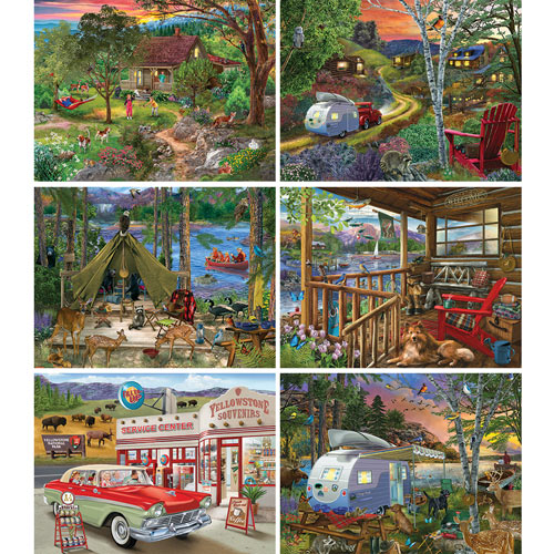 Set of 6: Bigelow Illustrations 500 Piece Jigsaw Puzzles