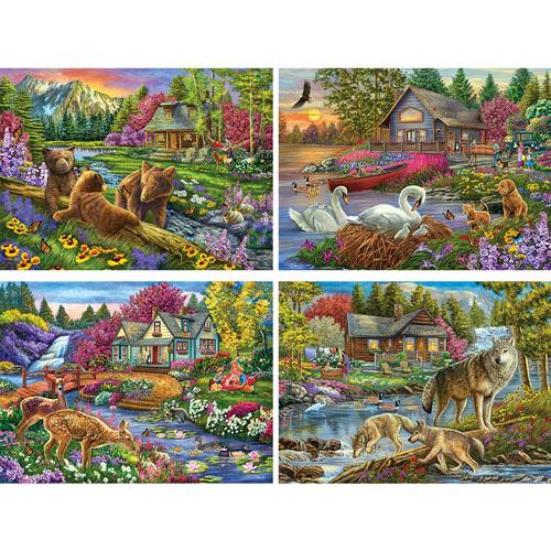 Set of 4: Cory Carlson 300 Large Piece Jigsaw Puzzle