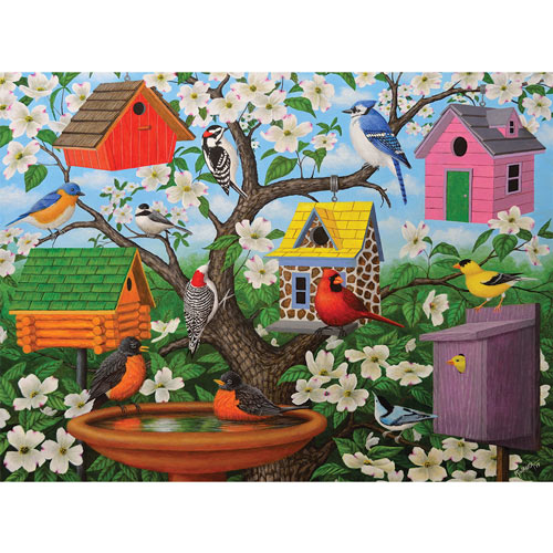 Birds And Birdhouses 300 Large Piece Jigsaw Puzzle