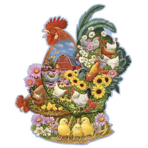 Rooster Barnyard 750 Piece Shaped Jigsaw Puzzle