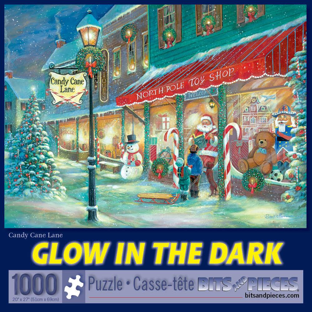 Candy Cane Lane 1000 Piece Glow-In-The-Dark Jigsaw Puzzle