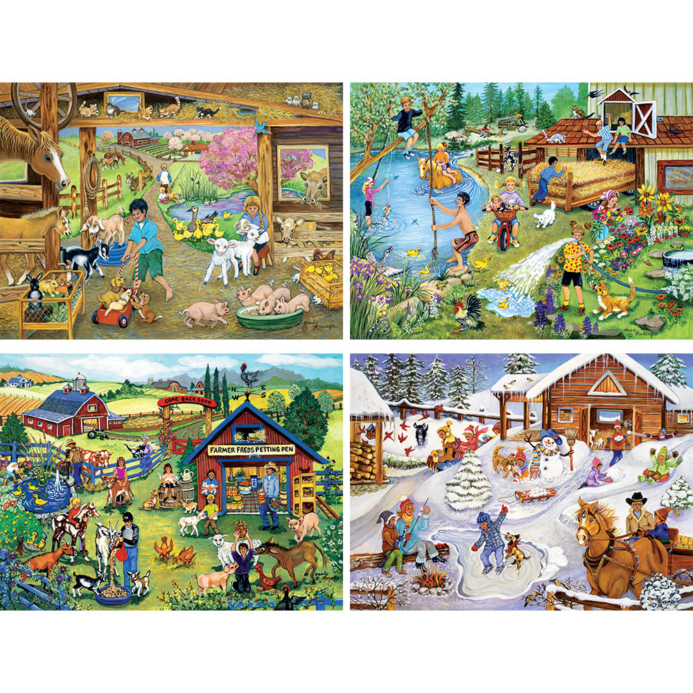 On The Farm 4-in-1 300 Large Piece Sandy Rusinko Jigsaw Puzzle Set