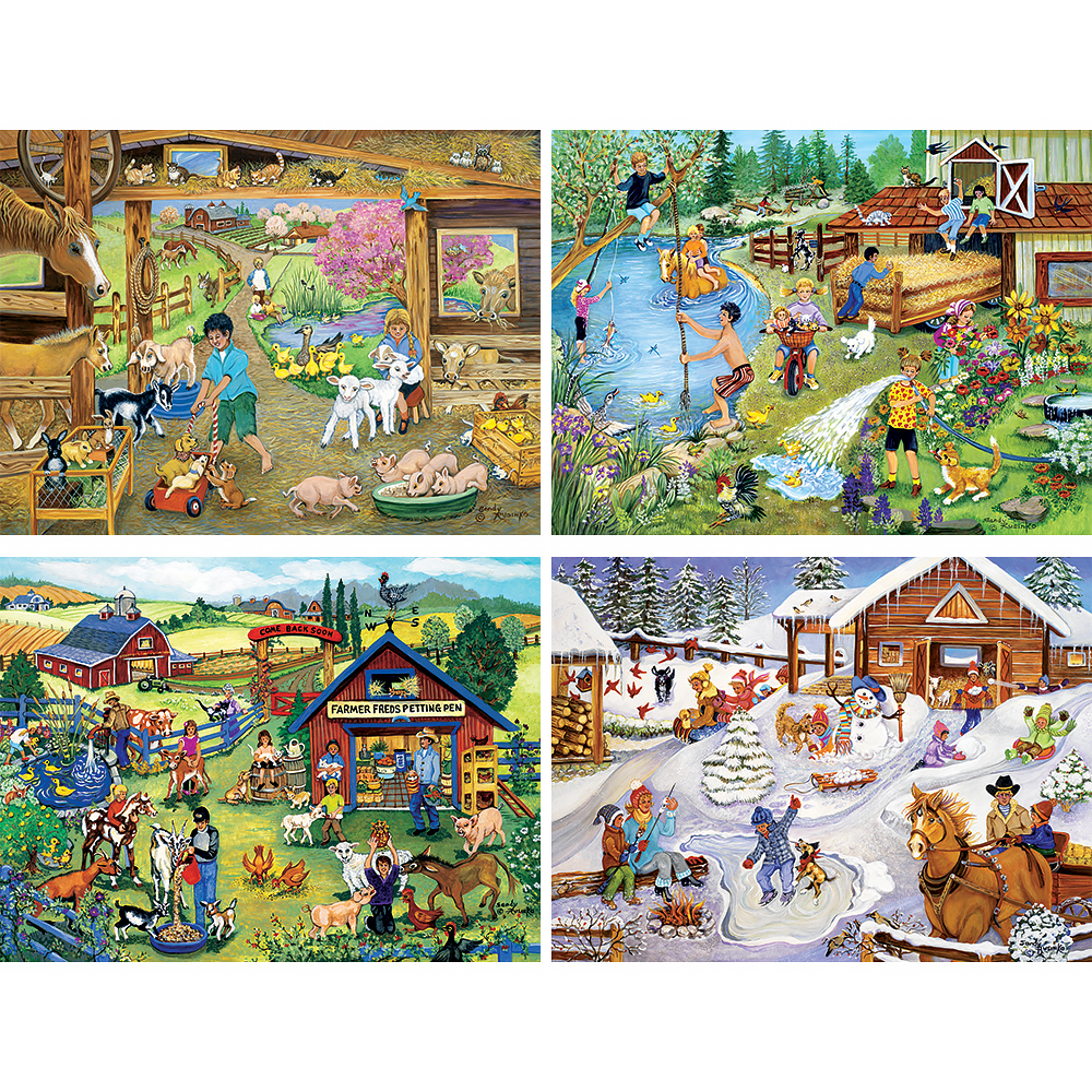 Fun On The Farm 4-in-1 MultiPack 1000 Piece Puzzle Set