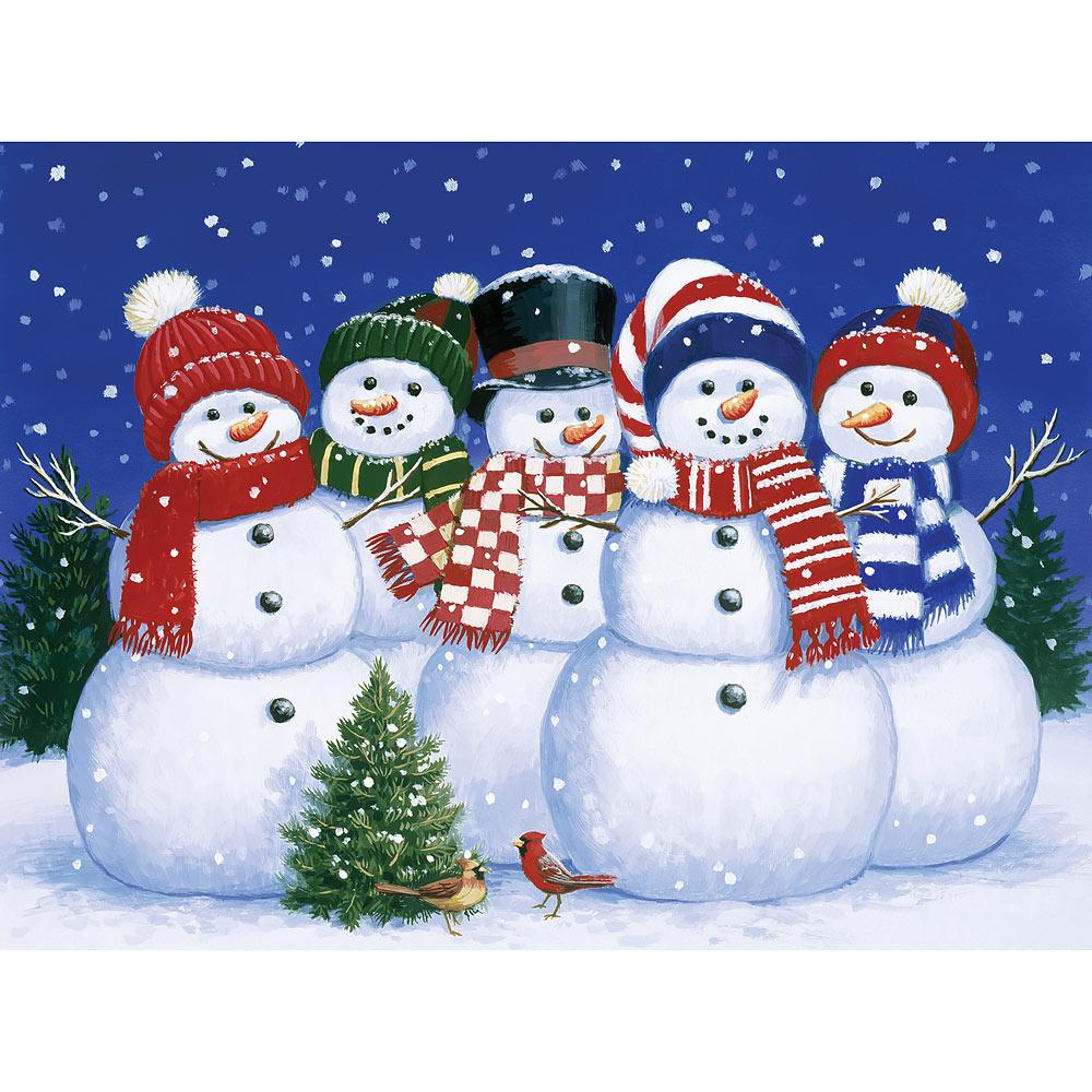 Five Snowmen 300 Large Piece Jigsaw Puzzle