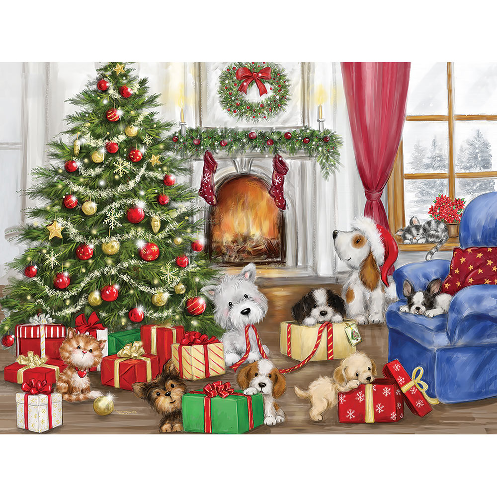 Christmas Dogs And Cats 300 Large Piece Jigsaw Puzzle