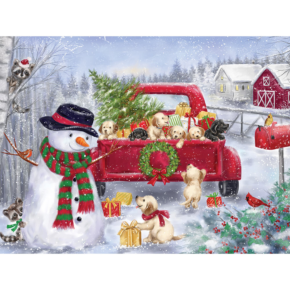 Red Truck With Puppies 300 Large Piece Jigsaw Puzzle