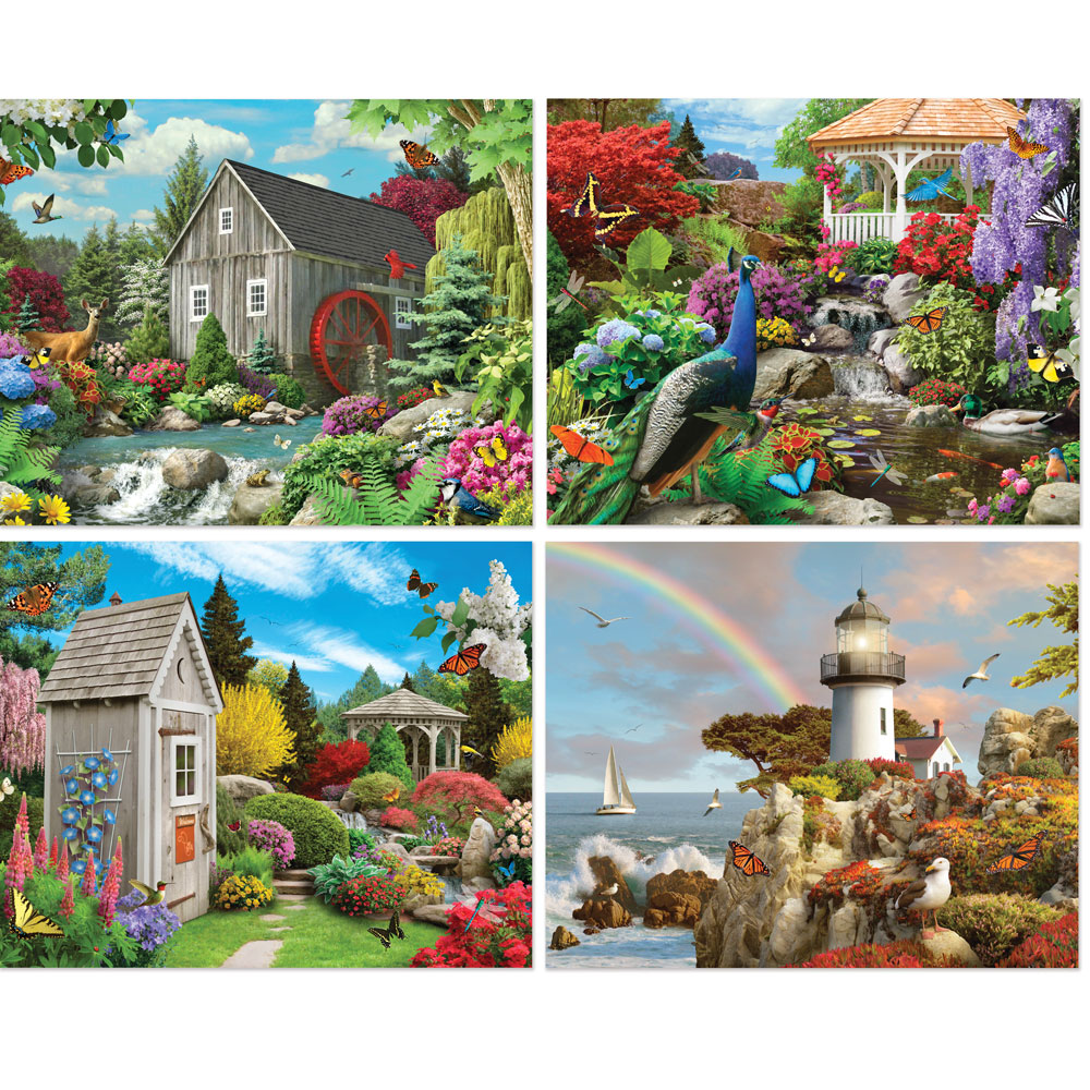 Alan Giana 4-in-1 Multi-Pack 300 Large Piece Puzzle Set