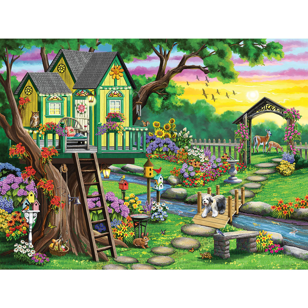 Treehouse At Twilight 500 Piece Jigsaw Puzzle