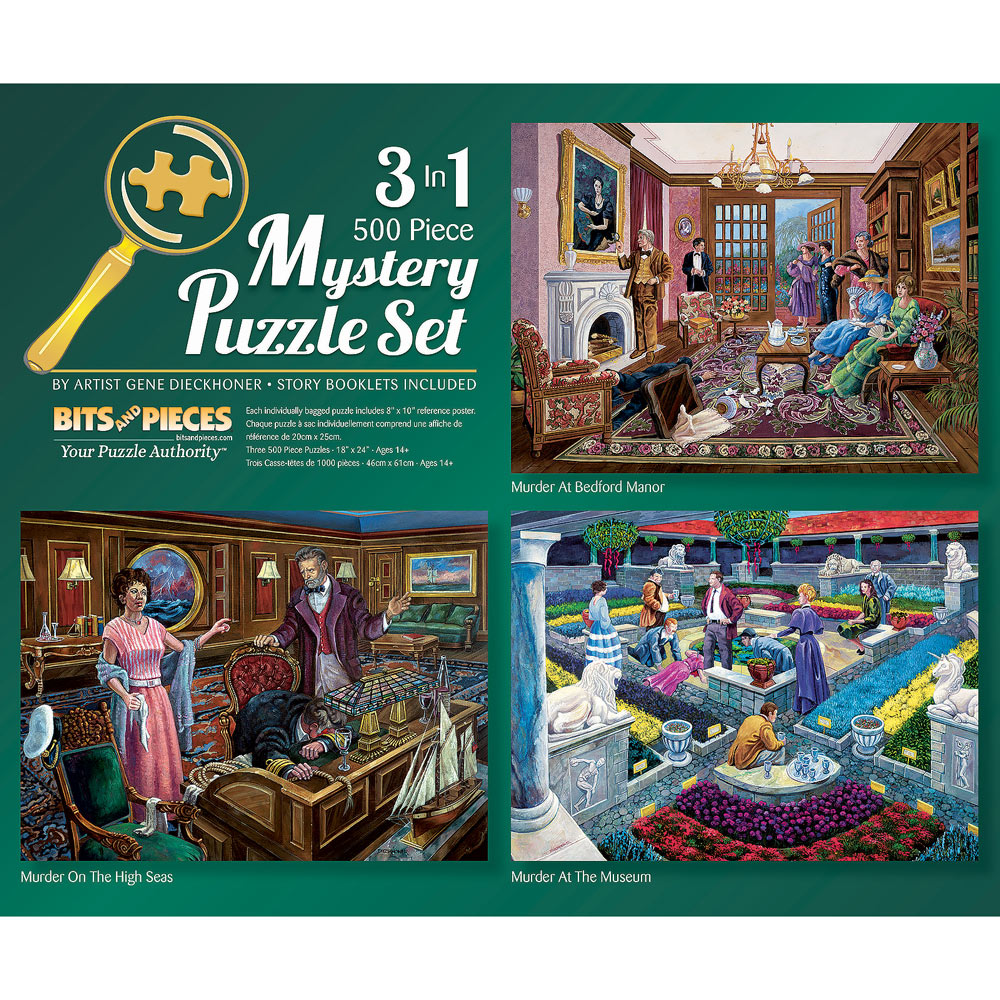 Murder Mystery 3-in-1 Multi-Pack 500 Piece Puzzle Set