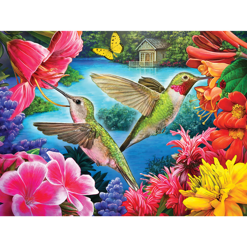 Hummingbirds Feasting By The Lake 300 Large Piece Jigsaw Puzzle