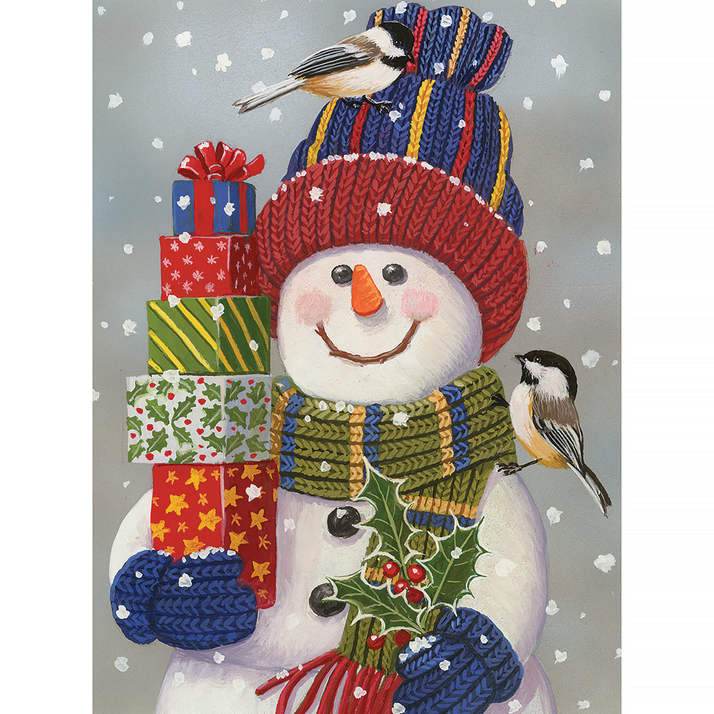 Snowman With Present 500 Piece Jigsaw Puzzle