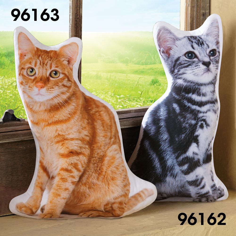 Cat Shaped Pillow- Tiger Stripe Grey