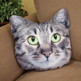 Gray Tabby Cat Pillow