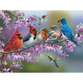 Birds On A Flowering Branch 1000 Piece Jigsaw Puzzle