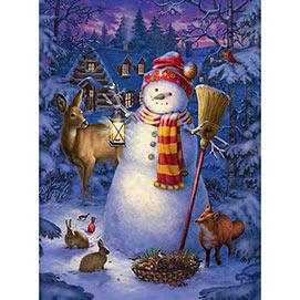 Night Watch Snowman 300 Large Piece Glow-In-The-Dark Jigsaw Puzzle