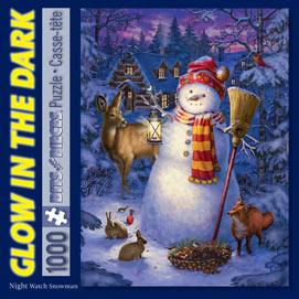 Night Watch Snowman 1000 Piece Glow-In-The-Dark Jigsaw Puzzle