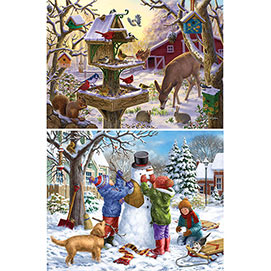 Set of 2: Holiday Cheer 500 Piece Jigsaw Puzzles.