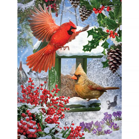 Cardinals At The Feeder 300 Large Piece Jigsaw Puzzle