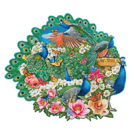 Peacock Garden 300 Large Piece Shaped Jigsaw Puzzle