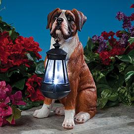 Boxer Solar LED Dog Breed Garden Lantern