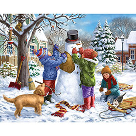 Building a Snowman on a Snowday 500 Piece Jigsaw Puzzle