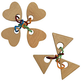Set of 2: Quatro Heart and Power of Three String Puzzles
