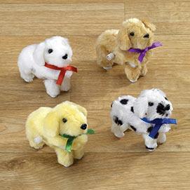 Set of 4: Wind Up Plush Puppies