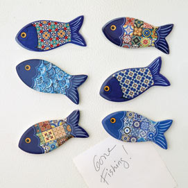 Set of 6 : Designer Fish Magnets