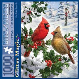 Cardinal Couple 1000 Piece Glitter Effects Jigsaw Puzzle