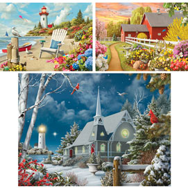 Set of 3 Pre-Boxed: Alan Giana 500 Piece Jigsaw Puzzles
