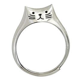Sweet Sterling Cat Ring - Medium
