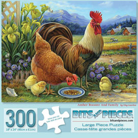 Amber Rooster And Family 300 Large Piece Jigsaw Puzzle