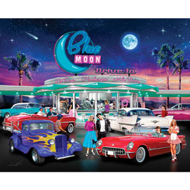 Blue Moon Drive In 300 Large Piece Jigsaw Puzzle