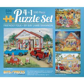 Friendly Folk 500 Piece 4-in-1 Multi-Pack Puzzle Set