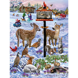 Forest Feeder Gathering 300 Large Piece Jigsaw Puzzle