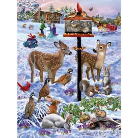 Forest Feeder Gathering 500 Piece Jigsaw Puzzle