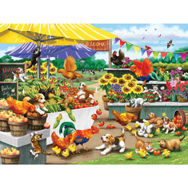 Mischief At The Farm Stand 300 Large Piece Jigsaw Puzzle