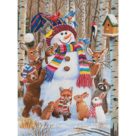 Forest Animals Decorating A Snowman 300 Large Piece Jigsaw Puzzle