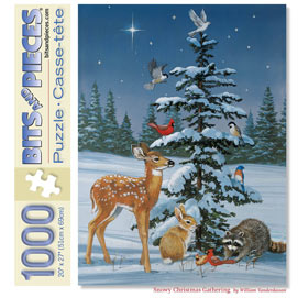 Snowy Christmas Gathering 1000 Piece Jigsaw Puzzle