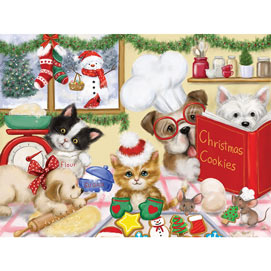 Dogs And Cats Making Christmas Cookies 300 Large Piece Jigsaw Puzzle