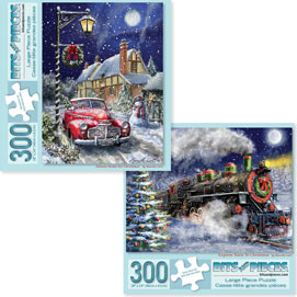 Preboxed Set of 2: Marcello Corti Christmas Joy 300 Large Piece Jigsaw Puzzles