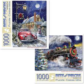 Preboxed Set of 2: Marcello Corti Christmas Joy 1000 Piece Jigsaw Puzzles